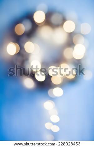 Christmas wreath defocused - stock photo