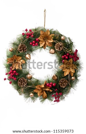 Christmas wreath in a white background - stock photo