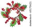christmas wreath isolated on white - stock photo