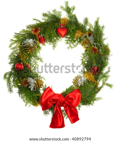 christmas wreath isolated on white - stock photo