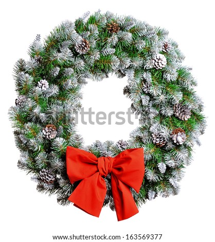 Christmas wreath isolated on white background - stock photo
