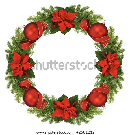 Christmas wreath isolated on white background. - stock photo