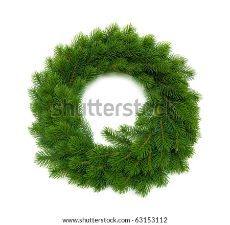christmas wreath on white - stock photo