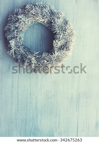 Christmas wreath white.Toned image.Vintage style.Copy space.Christmas and New Year background.selective focus - stock photo