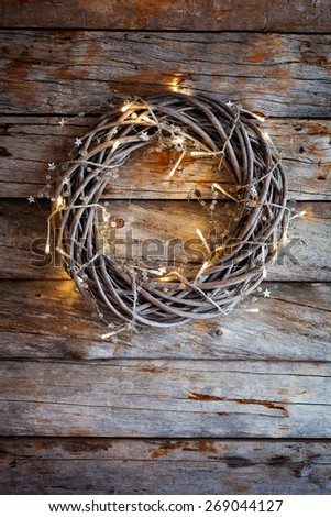Christmas wreath with bright lights - stock photo
