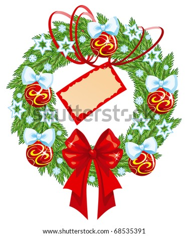 christmas wreath with card - stock photo