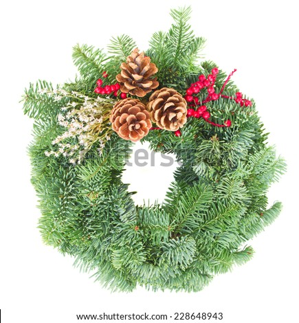 christmas wreath with evergreen tree and cones isolated on white background - stock photo