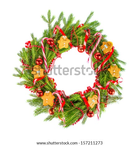 Christmas wreath with ginger cookies - stock photo