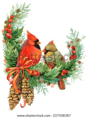 Christmas wreath with mistletoe, berries, pine cone tree and bird. watercolor winter Christmas wreath and cute birds. watercolor illustration - stock photo
