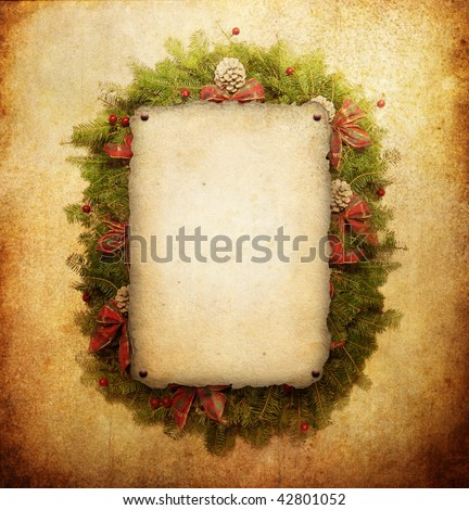 Christmas wreath with paper sheet - stock photo