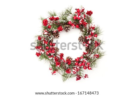 christmas wreath with poinsettia flowers and golden decoration isolated on white background  - stock photo