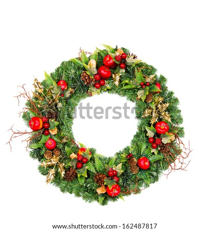 christmas wreath with red and golden decoration isolated on white background - stock photo