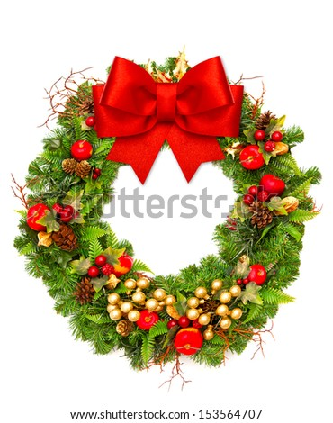 christmas wreath with red ribbon and golden decoration isolated on white background - stock photo