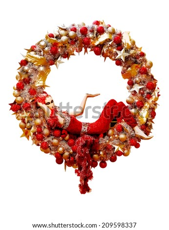Christmas wreath with red ribbon, golden decoration and young lady mannequin,  illustration isolated on white (your text in the middle) - stock photo