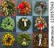 Christmas wreaths - stock photo