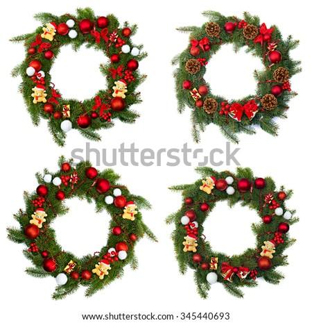 Christmas wreaths decoration on white background - stock photo