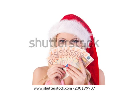 christmas, x-mas, sale, banking concept - smiling woman in santa helper hat with euro  money - stock photo