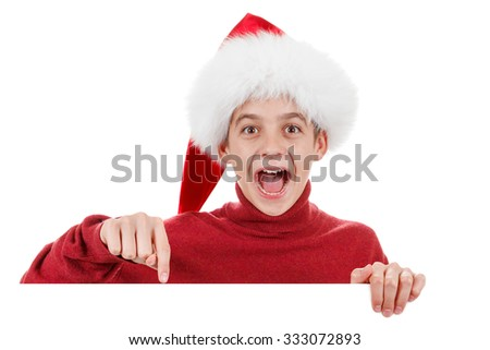 Christmas, Xmas santa boy smiling cute is showing blank empty billboard sign. Copyspace, isolated on white background - stock photo