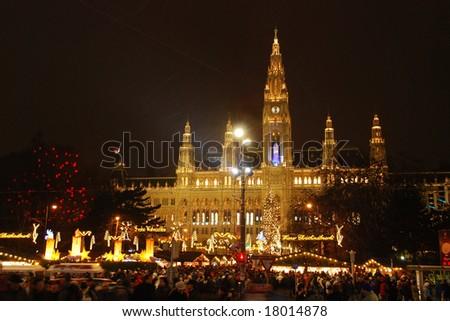 Christmastime town hall Vienna - stock photo