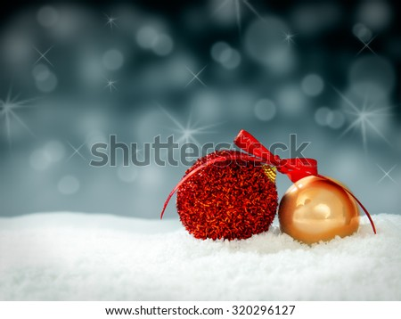 christmastree decoration snowballs for card or background - stock photo