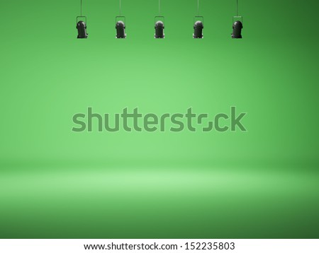 chroma key spotlight background with lamps - stock photo