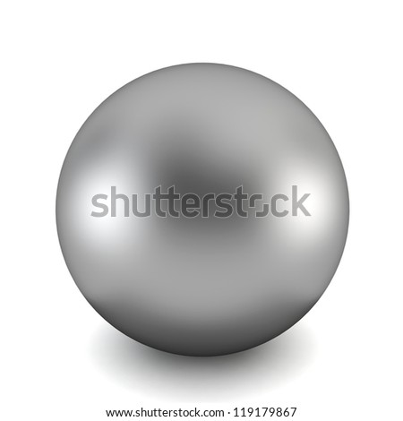 chrome ball - 3d render on white - stock photo