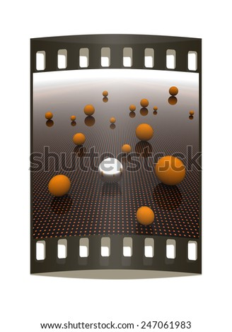 Chrome ball on light path to infinity. 3d render  - stock photo