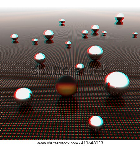 Chrome ball on light path to infinity. 3d render . 3D illustration. Anaglyph. View with red/cyan glasses to see in 3D. - stock photo