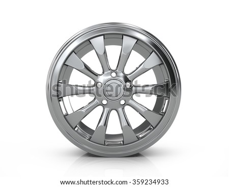 Chrome car disc on a white background. - stock photo