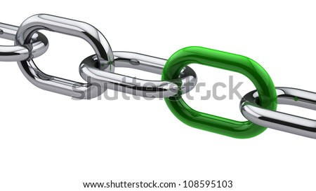 Chrome chain with a green link - stock photo