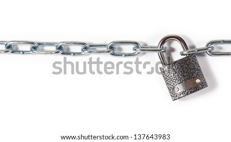 Chrome chain with a lock. isolated on white background - stock photo