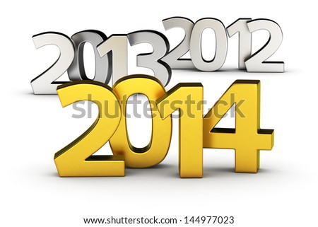 Chrome digits 2012, 2013 and golden 2014 on the white background - stock photo