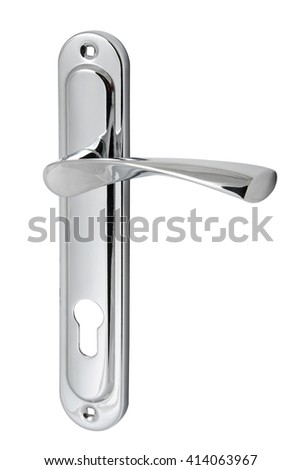 chrome door handle with a hole for the keyhole isolated on white background  - stock photo