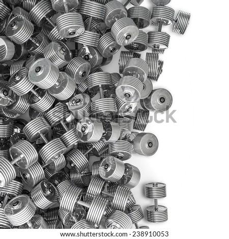 Chrome dumbbell spill - stock photo