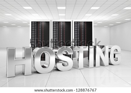Chrome Hosting letters in data center - stock photo