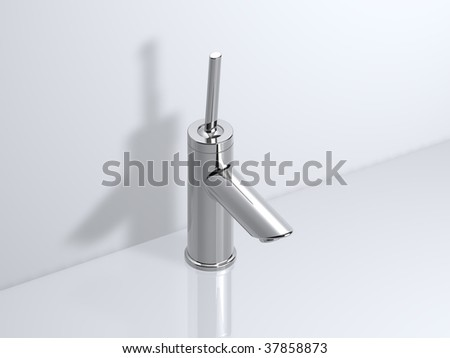 chrome joystick faucet - stock photo