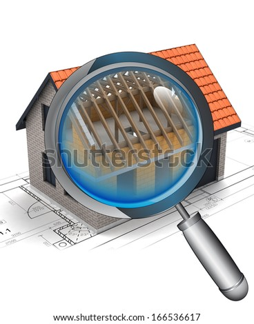 chrome magnifying glass rentgen house construction detail illustration - stock photo
