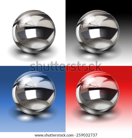 Chrome metal ball isolated on white red black and blue  backgrounds - stock photo