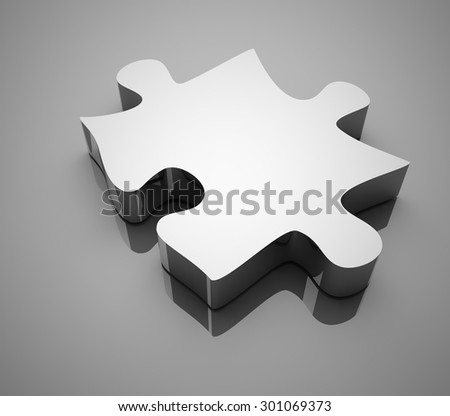 Chrome puzzle , This is a computer generated and 3d rendered picture. - stock photo