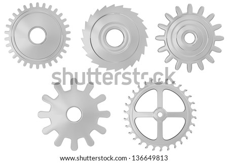 Chrome realistic gears set. Isolated on white. 3D render. - stock photo