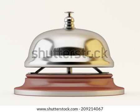 Chrome Reception bell on white background - stock photo