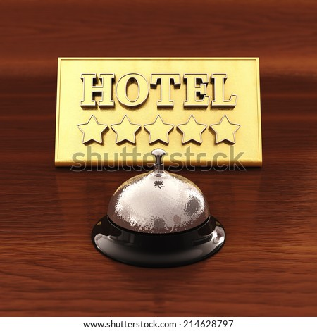 Chrome service bell and golden hotel plate ,3d illustration - stock photo