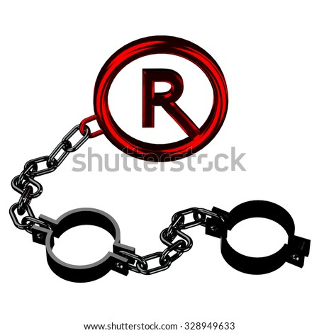 Chrome shackles chain with a red copyright symbol isolated on white background. - stock photo