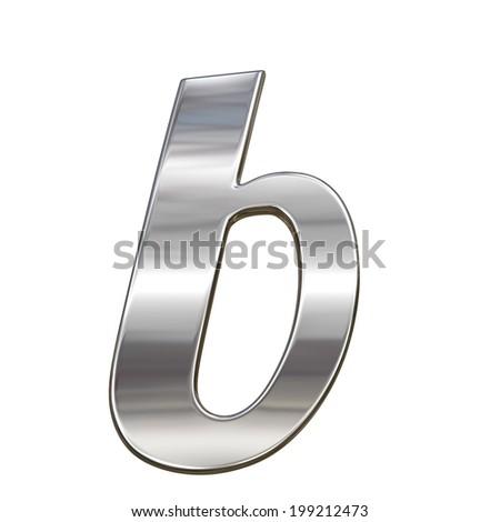 Chrome solid alphabet isolated on white - b lovercase letter - stock photo