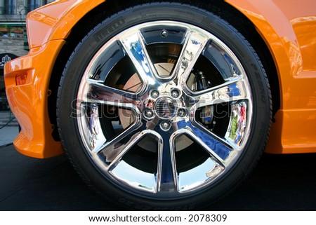 Chrome wheel - stock photo