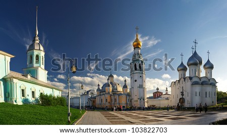 Church and the Cathedral of the summer in the sky - stock photo