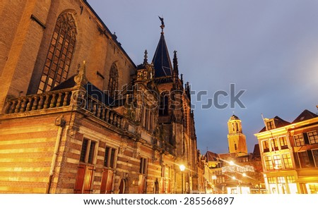 Church at sunset in Zwolle, Netherlands. - stock photo