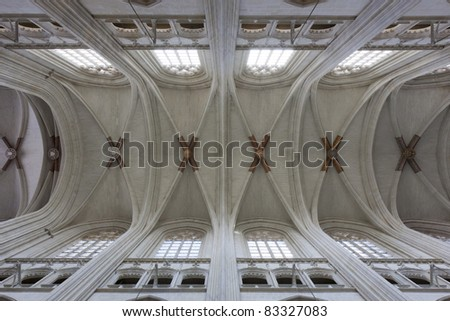 Church ceiling architecture, typical interior for gothic style. Europe, France. - stock photo