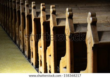 Church chairs - stock photo