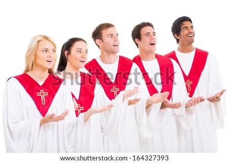 church choir singing on white background - stock photo